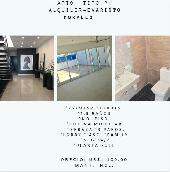 Arquiler de Apartamento en Evaristo Morales.